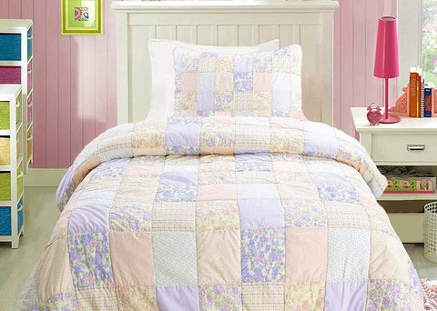 Crayon Pink 100% Cotton Quilt Set
