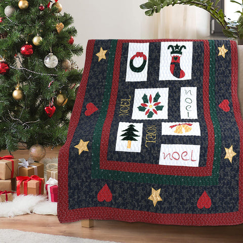Noel Love Christmas Reversible Cotton Quilted Throw