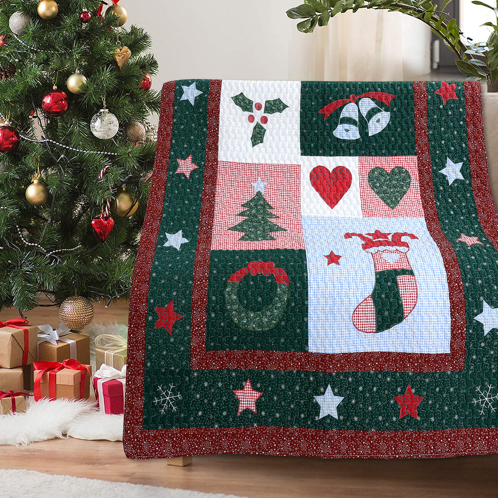 Christmas Night Reversible Cotton Quilted Throw