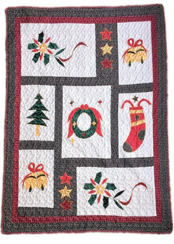 Happy Christmas Reversible Cotton Quilted Throw