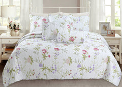 Lucie Light Pink Lavender Floral 3-Piece Quilt Set