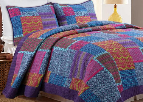 Aldiana 3-Piece Reversible Cotton Quilt Set