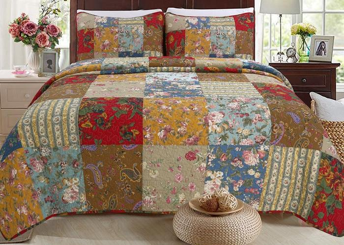 Ryleigh Patchwork Cotton Reversible Quilt Set