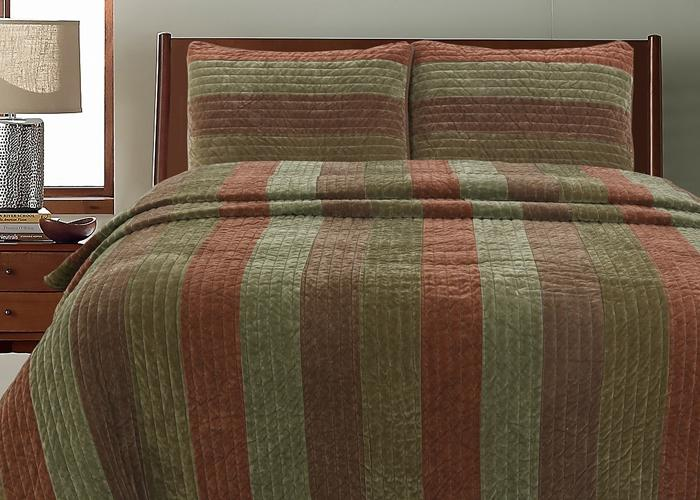 Rhett Brown Striped Polyester Reversible Quilt Set