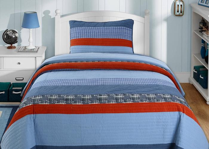 Aidan Navy Red Denim Plaid Reversible Cotton Quilt Set