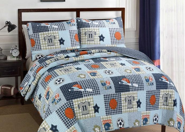 Blue Sports Baseball Basketball Soccer Football Boy Quilt Set