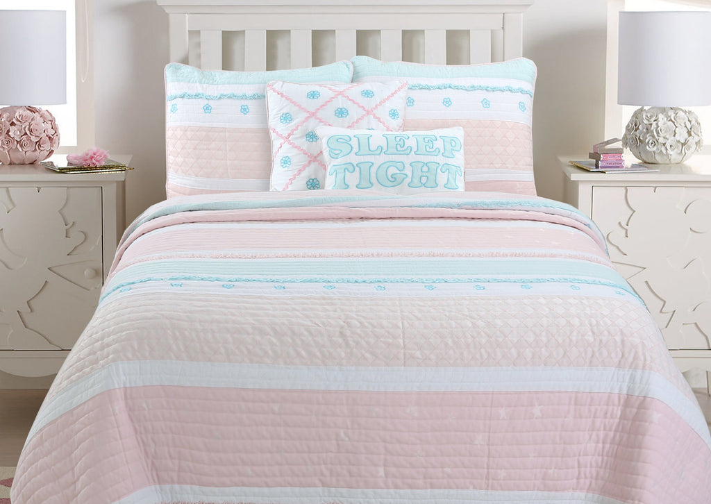 Candy Light Pink Green Ruffle Girl Reversible Cotton Quilt Set