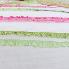 Pink Green Chic Ruffle Girl Reversible Cotton Quilt Set