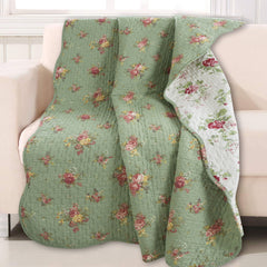 Green Floral 100% Cotton Quilted Throw