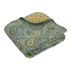 Green Paisley 100% Cotton Quilted Throw