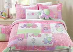 Pink Elephant Patch Cotton Quilt Set