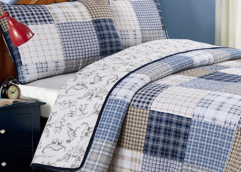 Benjamin Dinosaur Plaid Cotton Quilt Set