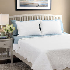 Serenity White 100% Cotton Quilt Set