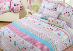 Home Sweet Pink Owl Print Girl Quilt Set