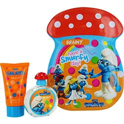 SMURFS by First American Brands 2 PIECE BRAINY SMURF TIN CAN SET INCLUDES EDT SPRAY 1.7 OZ & BUBBLE BATH 2.5 OZ