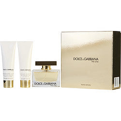 THE ONE by Dolce & Gabbana EAU DE PARFUM SPRAY 2.5 OZ & BODY LOTION 1.6 OZ & SHOWER GEL 1.6 OZ (TRAVEL EDITION)