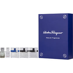 SALVATORE FERRAGAMO VARIETY by Salvatore Ferragamo 5 PIECE MENS MINI VARIETY WITH F BY FERRAGAMO & F BY FERRAGAMO FREE TIME & F BY FERRAGAMO BLACK & ATTIMO & ATTIMO L'EAU AND ALL ARE EDT .17 OZ MINIS