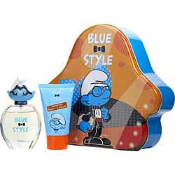 SMURFS 3D by First American Brands BRAINY EDT SPRAY 1.7 OZ & SHOWER GEL 2.5 OZ & METAL LUNCH BOX (BLUE & STYLE)