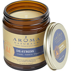 DE STRESS AROMATHERAPY by ONE 3 X 3 inch JAR AROMATHERAPY CANDLE.  COMBINES THE ESSENTIAL OILS OF LAVENDER, CHAMOMILE, BERGAMOT & CLARY SAGE.  BURNS APPROX.  50 HRS.