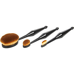 Qentissi by Qentessi Make Up Oval Brush Set: Small Straight Shaped Brush + Medium Oval Shaped Brush + Large Oval Shaped Brush -- 3pcs