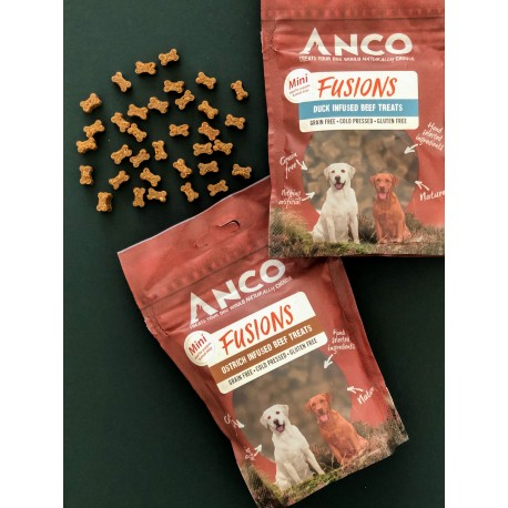 Fusions Ostrich Infused MINI Beef Treats - 120g