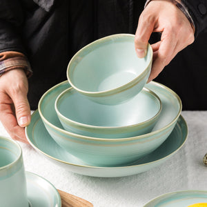 Home Use Tableware Sets Bowl Soup Mug Round Plate-Green