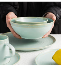 Load image into Gallery viewer, Home Use Tableware Sets Bowl Soup Mug Round Plate-Green