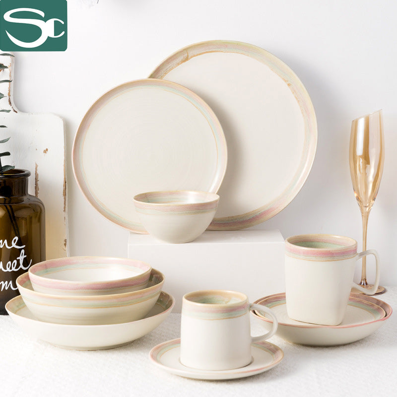 Home Use Tableware Sets Bowl Soup Mug Round Plate-Pink-SP0919-3