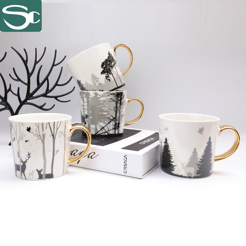 13oz Ceramic Forest and Deer Printing Mug SP2020-503