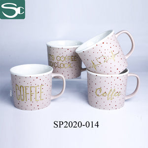 Matt Glaze Pink Mug Gold Text-SP2020-014