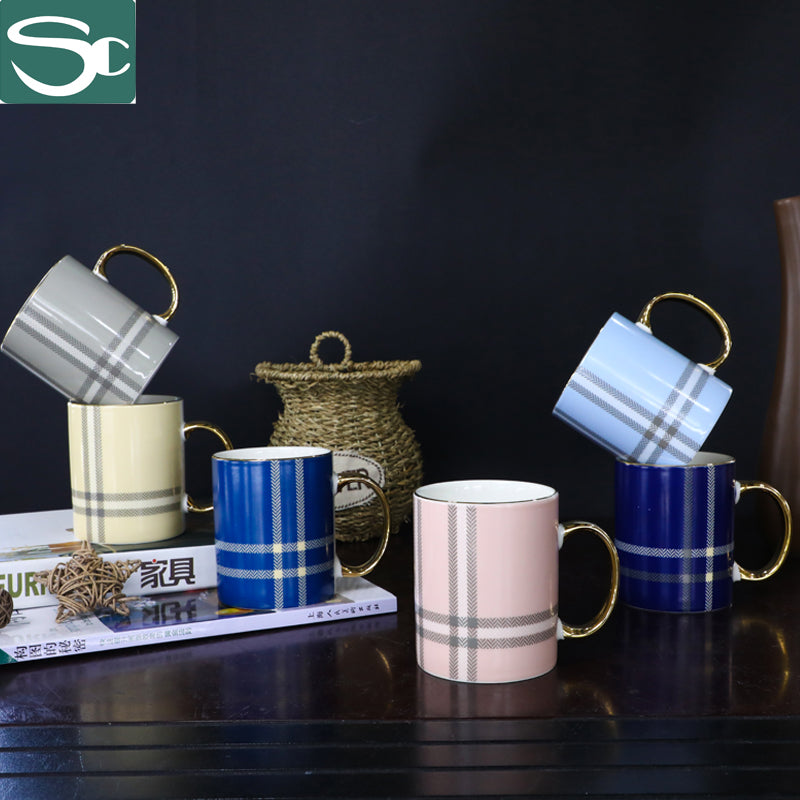 Plaid Pattern Ceramic Mug with Gold Handle-SP2020-019G