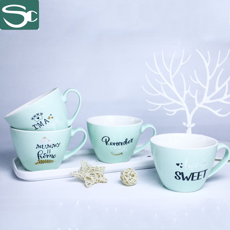 Fresh Mint Green Ceramic Soup Mug-SP2020-020