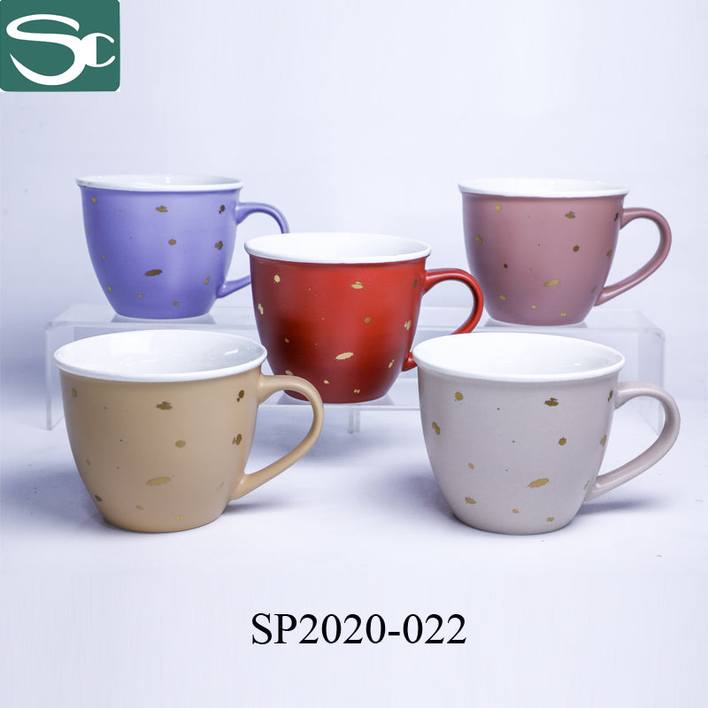 Matt Glaze Soup Mug with Gold Spot Design-SP2020-022