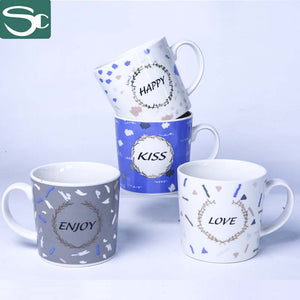 "13OZ Coffee Cup with ""Happy,Kiss,Love ,Enjoy""-SP2020-030"