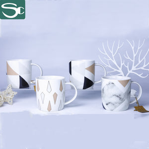 Ceramic Mug with Geometry Marble Design-SP2020-035