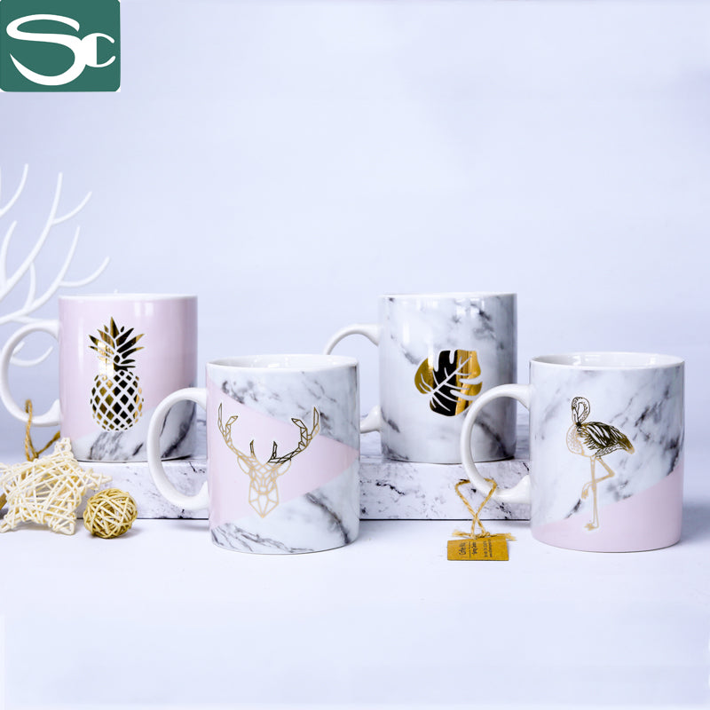 Straight Body Mug Marbel Design with Gold Foil Leaf/Pineapple- SP2020-042