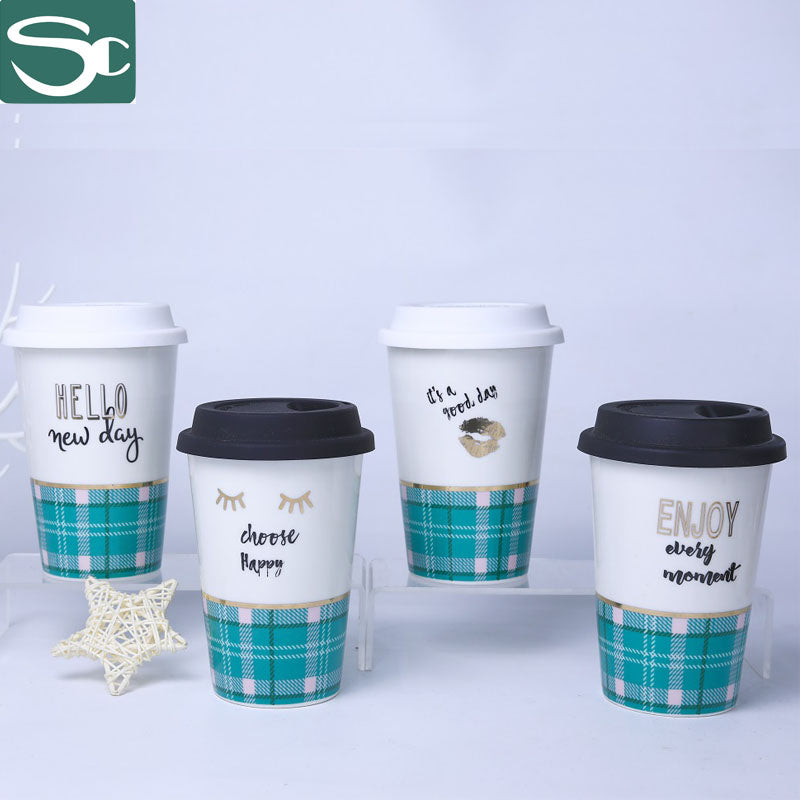 Ceramic Travel Mug with Silicone Lid Green Plaid Design-SP2020-046