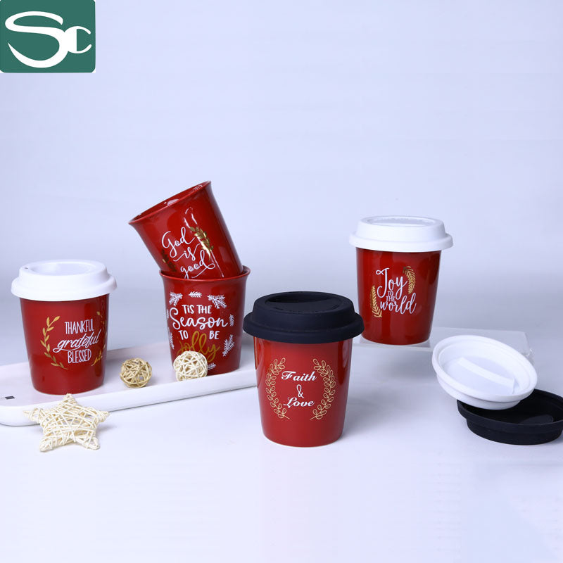 9OZ No Handle Cup Red Color Glaze Mug In Real Gold Foil Printing -SP2020-098