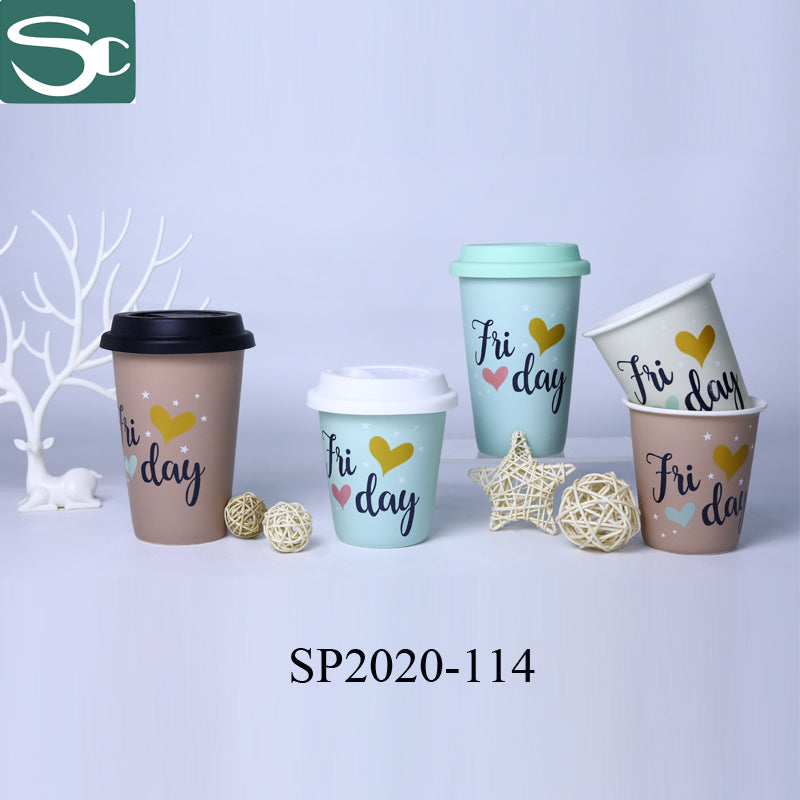 No Handle Real Gold Foil Print Coffee Cup With Silicone Cover - SP2020-114