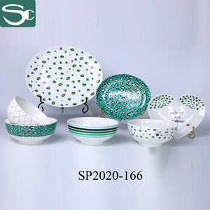 Green Leopard Plate And Bowl Tableware Set-SP2020-166