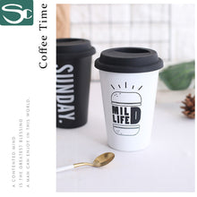 Load image into Gallery viewer, Ceramic Travel mug With Silicone Lid in black / white Color-SP2020-413