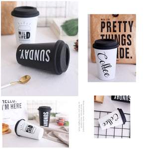 Ceramic Travel mug With Silicone Lid in black / white Color-SP2020-413