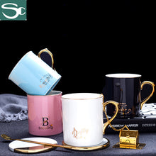 Load image into Gallery viewer, 300ml Golden Handle with Gold Tea Strainer Ceramic Coffee Mug SP2020-422