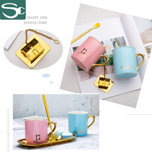 300ml Golden Handle with Gold Tea Strainer Ceramic Coffee Mug SP2020-422