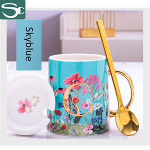 380ML Gold Handle Ceramic Flower Coffee Mug SP2020-424