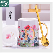 Load image into Gallery viewer, 380ML Gold Handle Ceramic Flower Coffee Mug SP2020-424