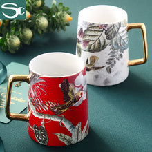 Load image into Gallery viewer, Gold Handle Ceramic Chinese Style Coffee Mug SP2020-427