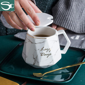 350ML MARBALE MUG SET WITH GOLD SPOON SP2020-505