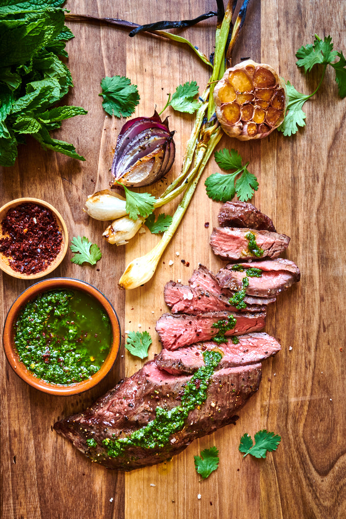 Grass-fed steak with chimichurri