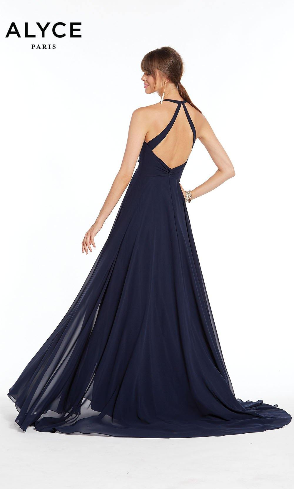 Formal Dress: 1381. Long, Halter, Flowy, Keyhole Back